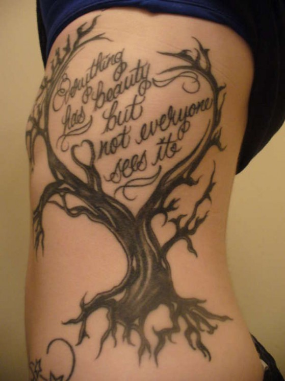 Tree And The Clock Tattoos