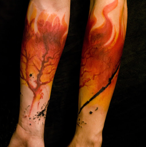 Tree On Fire Tattoo For Arm