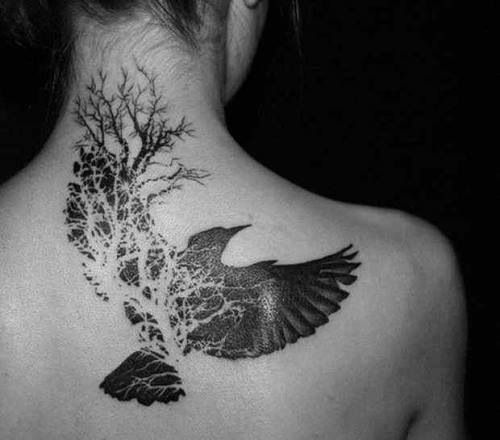 Tree With Birds Tattoos On Back Neck