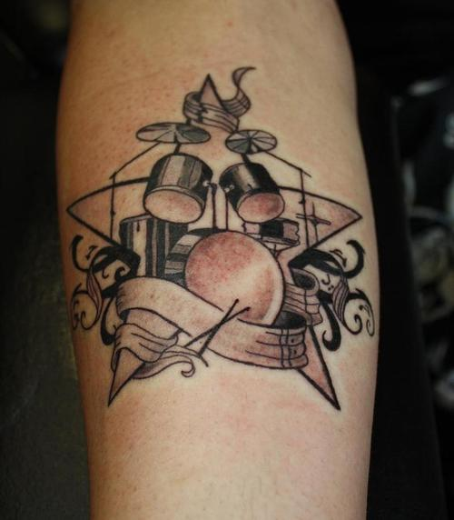 Tremendous Band Guitar Tattoo Design