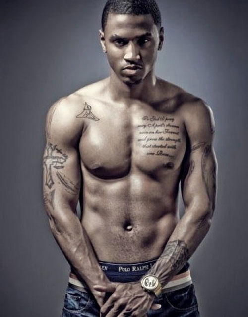 Trey Songz With Muscles Tattoos