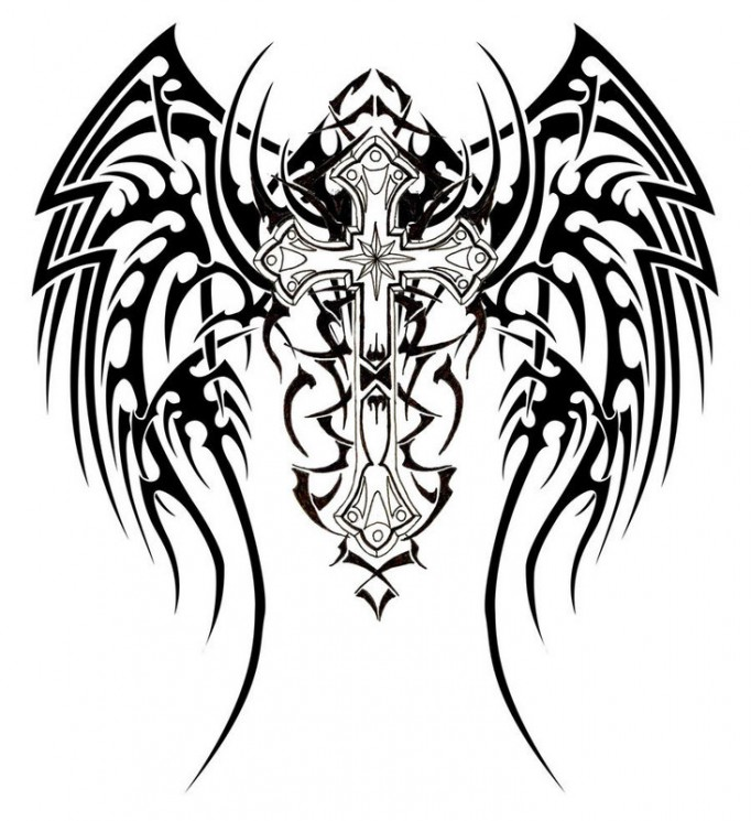 Tribal And Angel Tattoos On Back