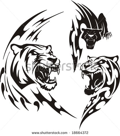 Tribal And Angry Tiger Head Tattoo Stencil