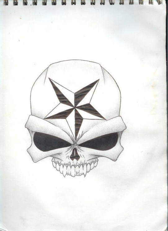 Tribal And Skull Nautical Star Tattoos