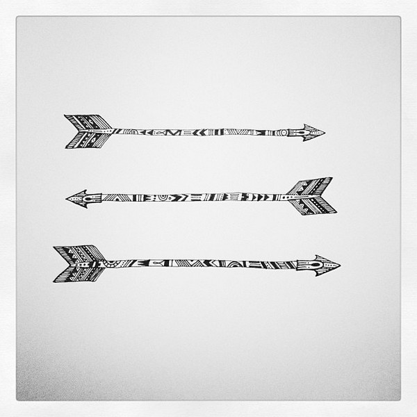 Tribal Arrow With Leaves Tattoo Design