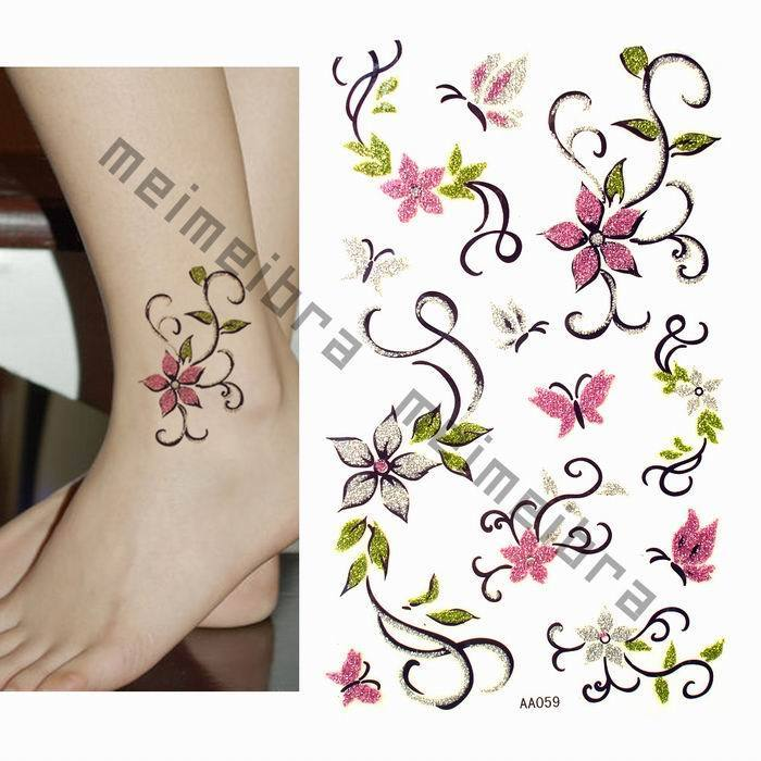 Tribal Butterfly And Orchid Tattoos Sample