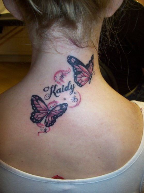 Tribal Butterfly Breast Cancer Pink Ribbon Tattoo