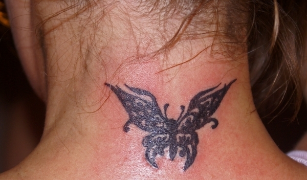 Tribal Butterfly Neck Tattoo Photo