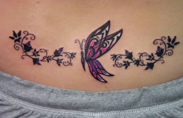Tribal Butterfly Tattoo On Stomach