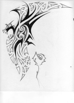 Tribal Cat Hip Tattoo Design For Girls