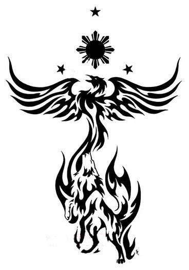 Tribal Color Phoenix And Wolf Tattoo Designs In 2017 Real Photo