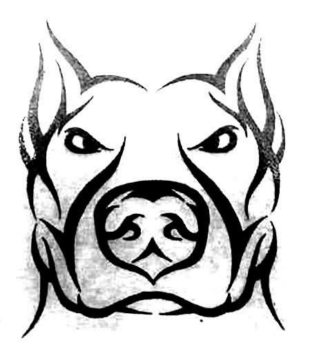 Tribal Dog Head Tattoo Sample