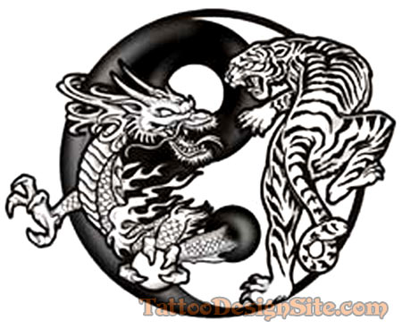 Tribal Dragon Ying Yang Symbol Tattoo Design