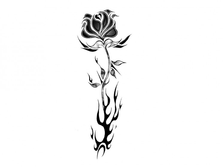Tribal Flames And Black Rose Tattoos Design
