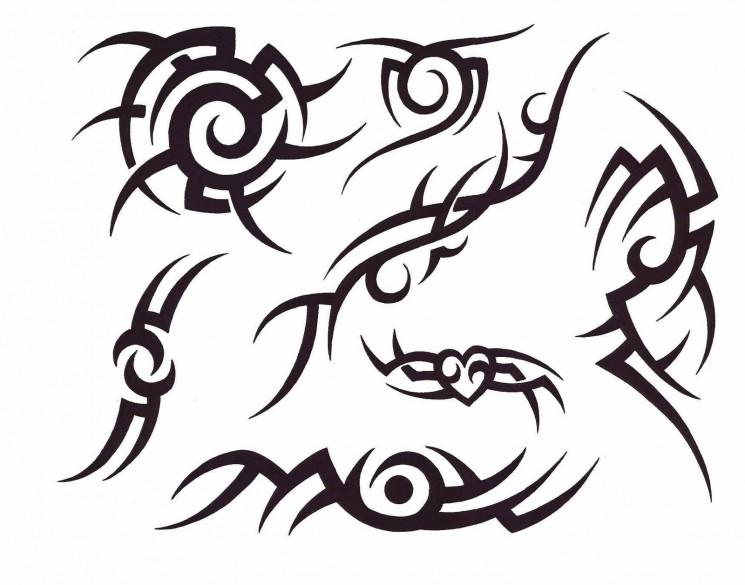 Tribal Flames And Nautical Star Tattoo Sketch