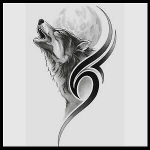 Tribal Howling Wolf Tattoo On Arm For Men