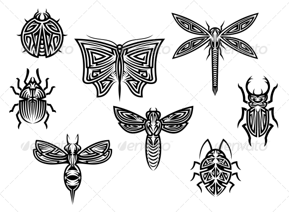 Tribal Insects Tattoo Set