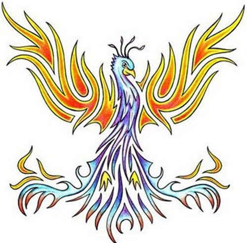 Tribal Phoenix Colorful Tattoo Design
