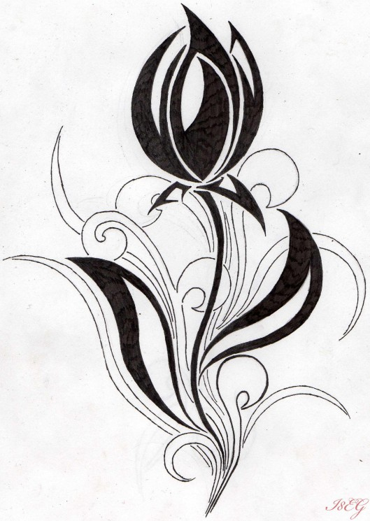 Tribal Tulips Tattoo Design