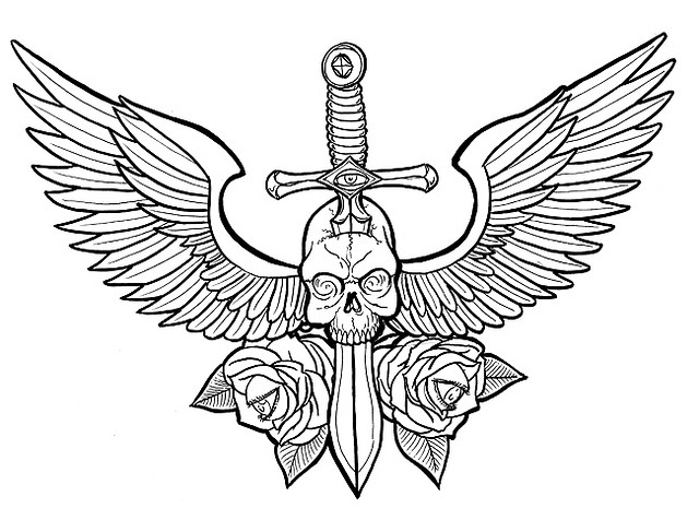 Tribal Wings And Sword Tattoo Design