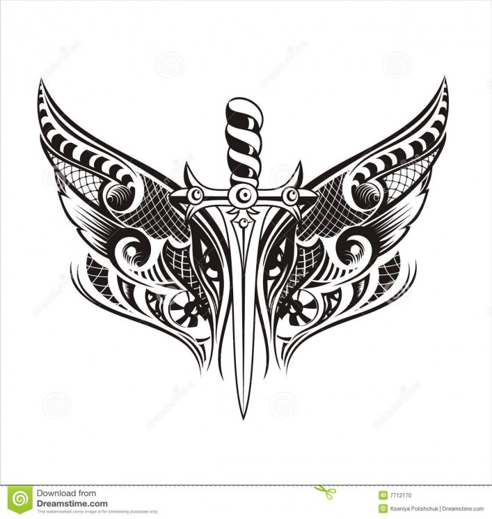 Tribal With Medieval Sword Tattoo Design
