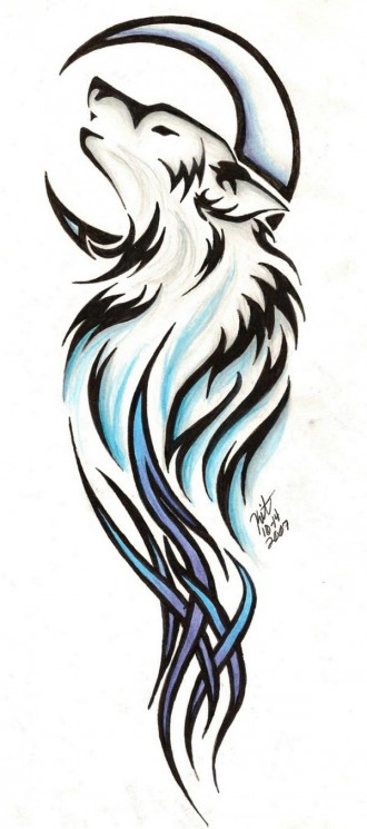 Tribal Wolf And Moon Tattoo Designs