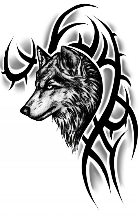 Tribal Wolf Tattoo On Back For Men
