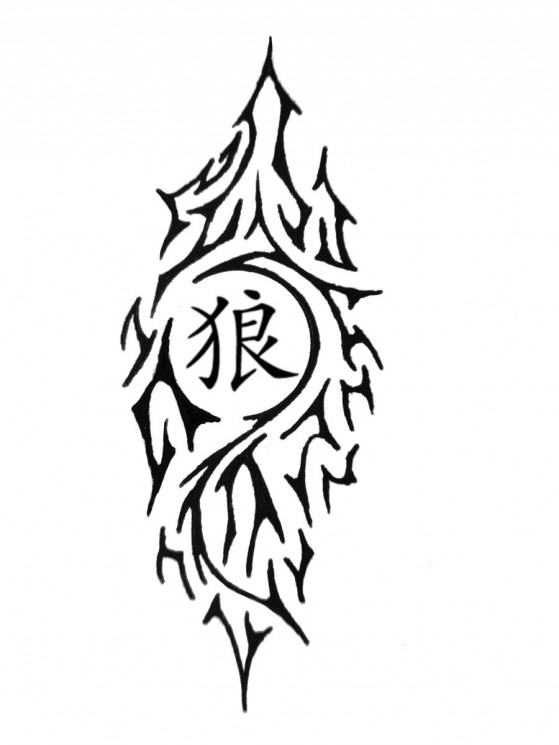 Tribal Wolf With Chinese Symbols Tattoos On Waist