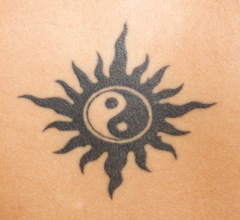 Tribal Yin Yang Sun Tattoo
