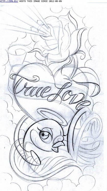 True Love Heart And Bird Tattoo Sample