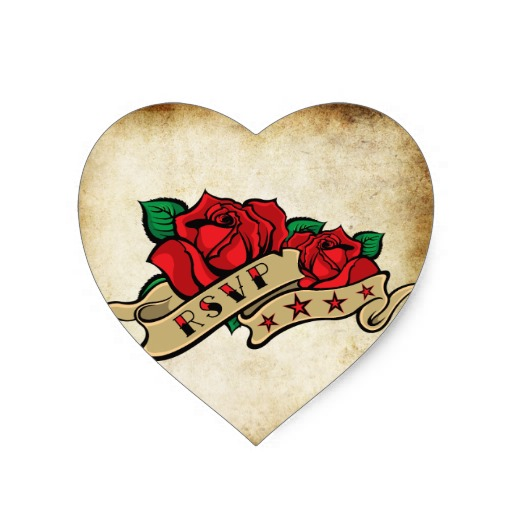 True Love Roses And Pistol Tattoo Sticker
