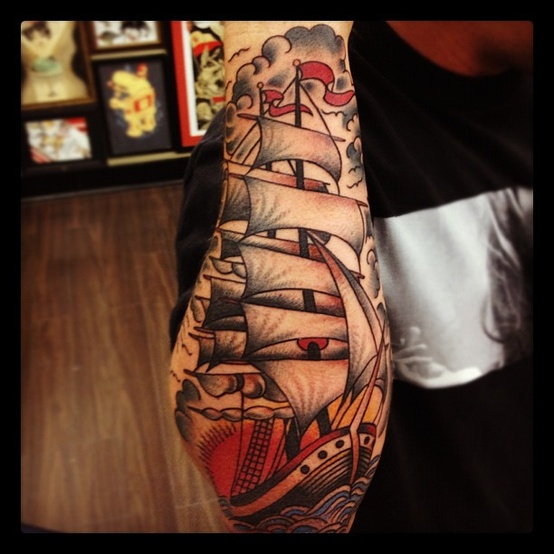 Truly Amazing Colored Pirate Ship Tattoo