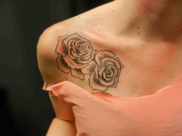 Truly Amazing Grey Rose Tattoo Behind The Shoulder