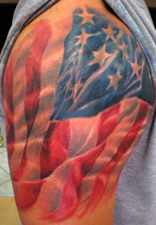 Truly Awesome Patriotic Tattoo On Arm
