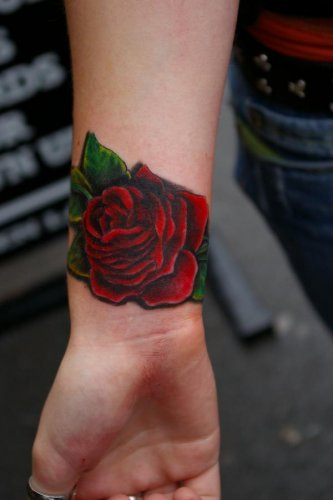 Truly Lovely Grey Rose Tattoo On Inner Wrist