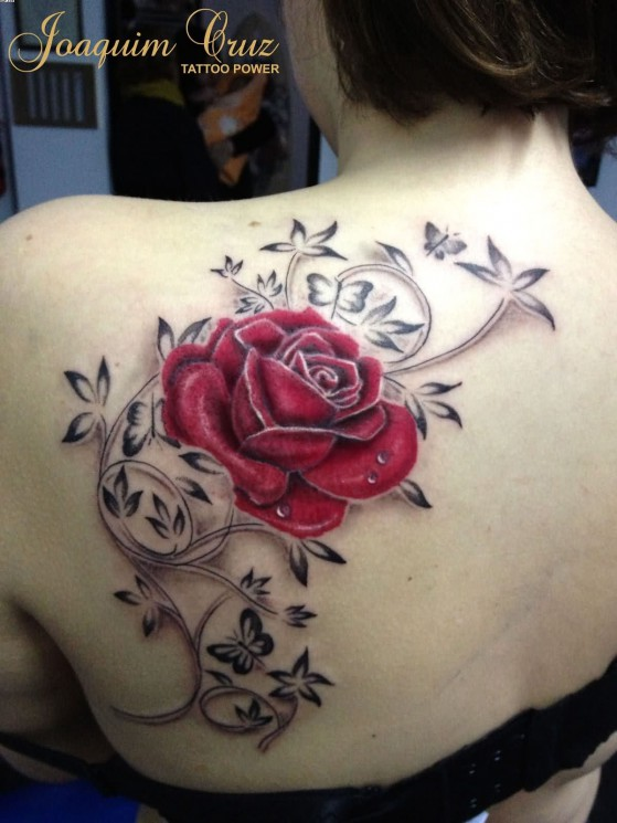 Try A Lovely Rose Vine Tattoo Design