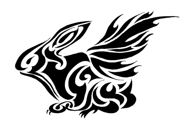 Try A Tribal Rabbit Tattoo Design