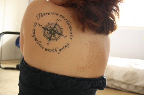 Compass & Rose Tattoo On Biceps