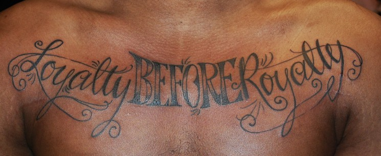 Tumblr Lettering Tattoo On Chest