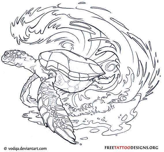 Turtle And Waves Tattoo Design