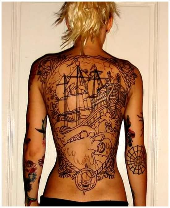 Turtle Outline Pirate Ship And Mermaids Tattoos On Back
