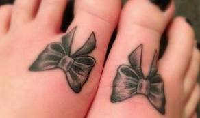Twin Bow Tattoos On Toes