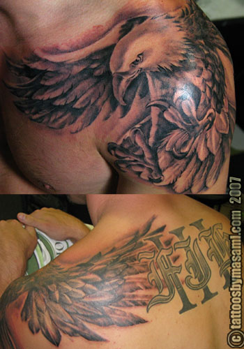 Twin Eagle Tattoo On Chest