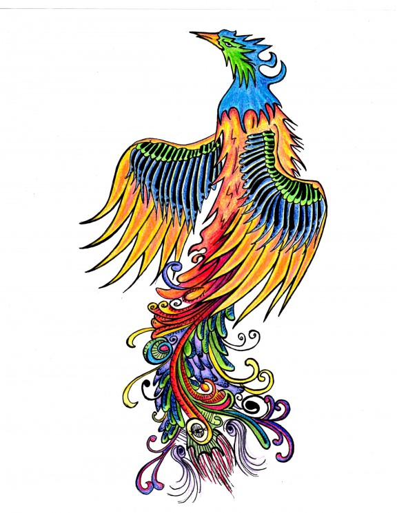 Two Colorful Phoenix Tattoo Designs