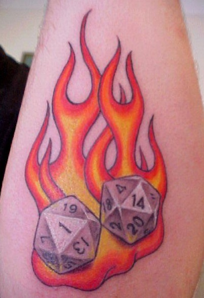Two Dice On Fire Tattoo