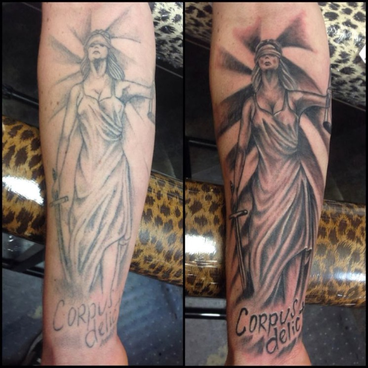 Two Lady Justice Tattoo Designs