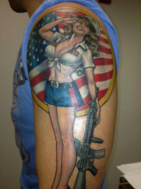 US Army Pin Up Girl Salute Tattoo On Arm