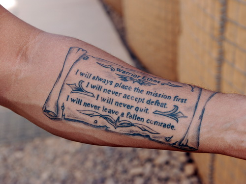 US Memorial Tattoo On Forearm
