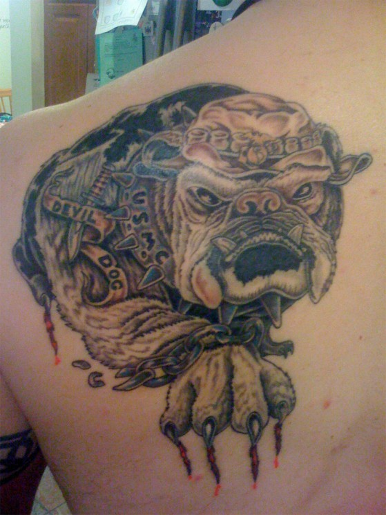 USMC Military Bull Dog Tattoo On Shoulder