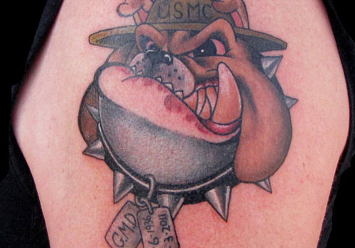 USMC Muscular Bulldog Tattoo On Arm